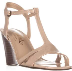 Callisto Upright T-strap Wedge Sandals, Nude Patent.