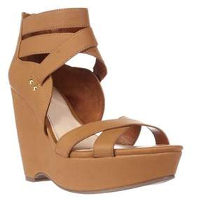 Bar III B35 Samara Strappy Wedge Sandals, Dark Tan.