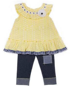 Little Lass Toddler Girl Daisy Top & Capri Jeggings Set