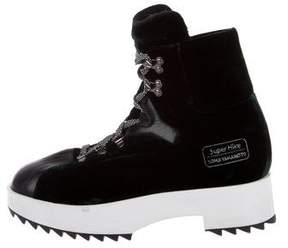 Y-3 Velvet Round-Toe Ankle Boots