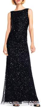 Adrianna Papell Sequined Drape-Back Gown