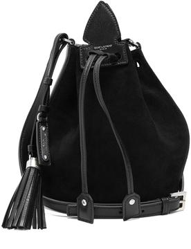 SAINT LAURENT Anja Tassel suede and leather bucket bag