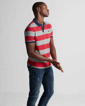 Express Small Lion Stripe Stretch Pique Polo