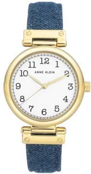Anne Klein Goldtone Navy Denim Strap Watch