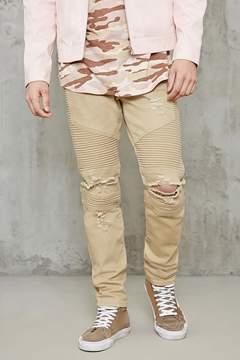 21men 21 MEN Distressed Skinny Moto Jeans