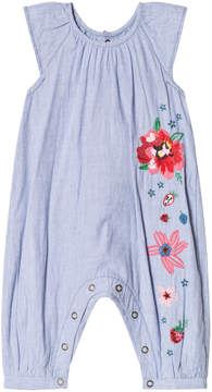 Catimini Blue Stripe Floral Embroidered Short Romper