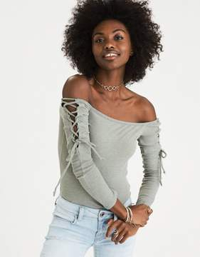 American Eagle Outfitters AE Soft & Sexy Plush Ribbed Lace-Up Bodysuit