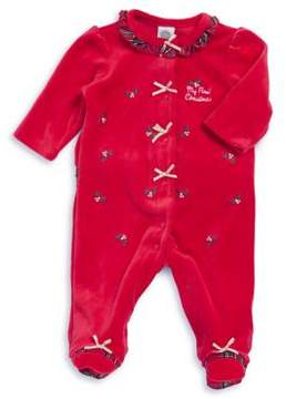Little Me Baby Girl's 1st Christmas Embroidered Footie