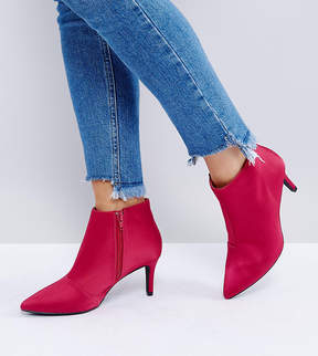 New Look Wide Fit Satin Mid Heeled Boot