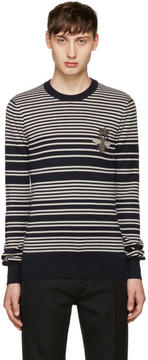 Dolce & Gabbana Navy and Grey Embroidered Sweater