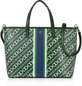 Tory Burch Gemini Link Green Coated Canvas Small Tote Bag - ONE COLOR - STYLE