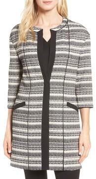 Anne Klein Women's Long Stripe Tweed Jacket