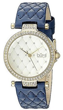 Burgi Gold Tone Dial Ladies Blue Leather Watch