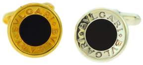 Bulgari 18K Yellow Gold and 925 Sterling Silver and Onyx Cufflinks