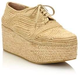 Robert Clergerie Pinto Raffia Espadrille Platform Sneakers
