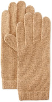 Portolano Cashmere Basic Knit Gloves, Camel