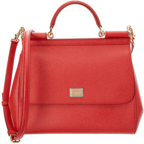 Dolce & Gabbana Sicily Large Dauphine Leather Satchel - RED - STYLE