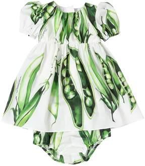 Dolce & Gabbana Peas Cotton Poplin Dress & Diaper Cover