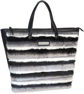 ADRIENNE LANDAU Adrienne Landau Striped Faux Fur Shopper Tote