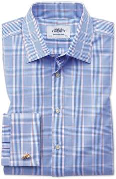 Charles Tyrwhitt Classic Fit Prince Of Wales Check Blue Cotton Dress Shirt French Cuff Size 15/34