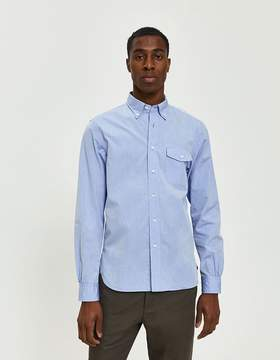 Beams Button Down 120/3 Broad Oxford Shirt in Sax