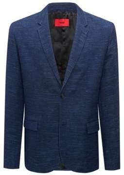HUGO Boss Slim-fit blazer in a yarn-dyed virgin-wool 42R Dark Blue