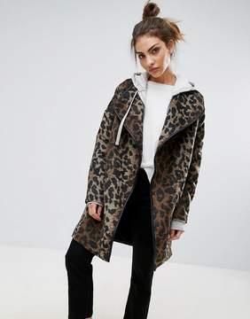 B.young High Neck Animal Print Coat