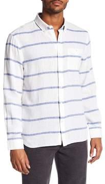 Jack Spade Striped Linen Blend Long Sleeve Shirt