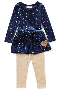 Flapdoodles Little Girls 2T-6X Star-Print Drop-Waist Dress & Leggings Set
