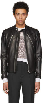 Maison Margiela Black Leather Classic Five-Zip Jacket