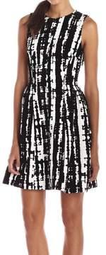 Calvin Klein Women's Sleeveless Velvet Print Fit & Flare Dress