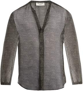 Saint Laurent Stripe-print grandad-collar silk shirt