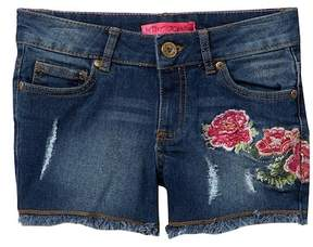 Betsey Johnson Floral Embroidered Rip & Repair Jean Shorts with Fringe Hem (Big Girls)