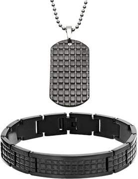 DAY Birger et Mikkelsen Kohl's Two Tone Stainless Steel Textured Dog Tag & Bracelet Set - Men