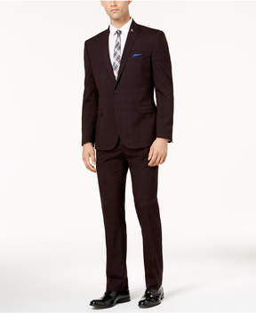 Nick Graham Men's Slim-Fit Stretch Burgundy Windowpane Suit