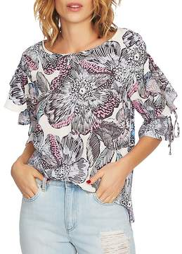 1 STATE 1.STATE Ruffle-Sleeve Floral-Print Top
