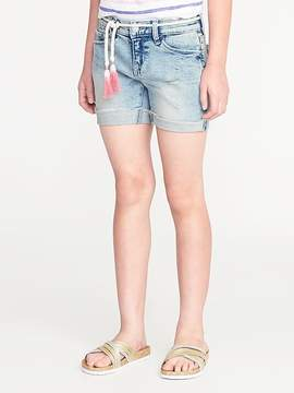 Old Navy Belted Distressed Denim Midi Shorts for Girls