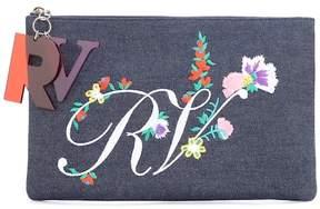 Roger Vivier Embroidered denim clutch