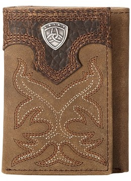 Ariat Shield Boot Stitch Tri-Fold Wallet Wallet Handbags