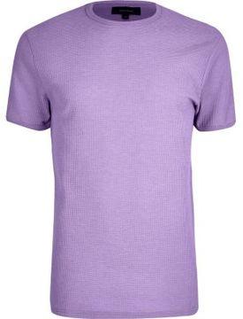 River Island Mens Light purple waffle slim fit T-shirt