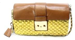 MICHAEL Michael Kors Womens Gabriella Straw Colorblock Shoulder Handbag - WALNUT - STYLE