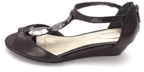 Giani Bernini Womens Elya Leather Open Toe Ankle Strap Wedge Pumps.