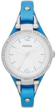 Fossil Women's ES3470 Georgia Silver Dial Blue Leather Strap Quartz Watch