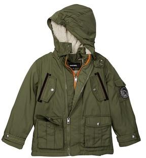 Diesel Felt Patch Faux Shearling Hood Lining Parka Jacket (Little Boys)