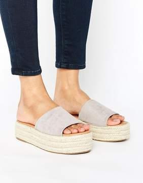 Glamorous Gray Flatform Slide Espadrille Flat Sandals
