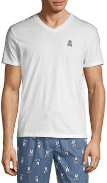 Psycho Bunny Men's Two-Piece V-Neck Tee and Printed Shorts