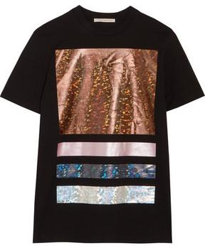 Christopher Kane Foil-paneled Cotton-jersey T-shirt - Black