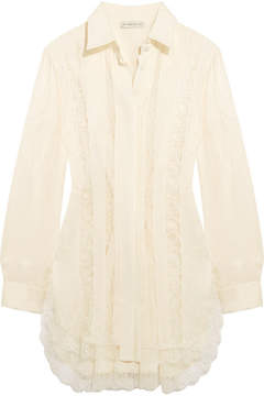 Etro Lace-paneled Silk-jacquard Shirt - White