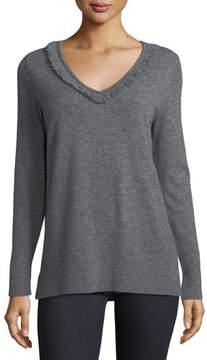 Neiman Marcus Cashmere Fringe-Trim Sweater