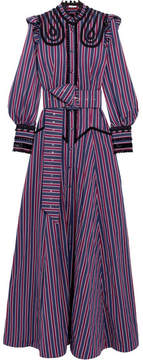 Erdem Iconia Embroidered Striped Cotton-poplin Gown - Navy
